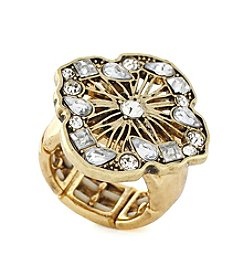 Jessica Simpson Goldtone Stone Open Work Ring