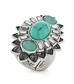 Jessica Simpson Silvertone Turquoise Stretch Ring
