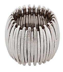 Erica Lyons® Silvertone Thin Sticks Wide Band Fashion Stretch Ring