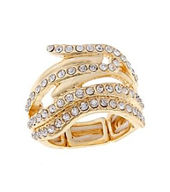 Erica Lyons® Goldtone Glamorous Waves Fashion Stretch Ring