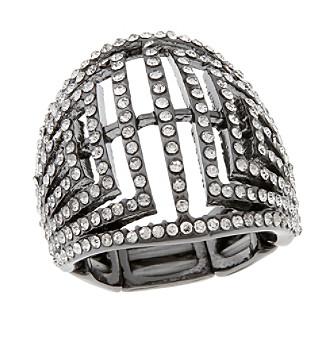 Erica Lyons® Hematite Tone Glamorous Dome Fashion Stretch Ring