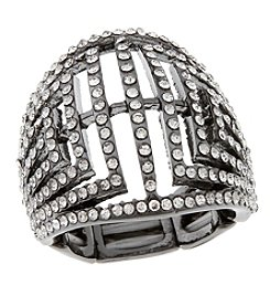 Erica Lyons® Hematite Tone Glamorous Dome Fashion Stretch Ring