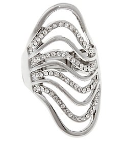 Erica Lyons® Silvertone Glamorous Long Waves Fashion Stretch Ring