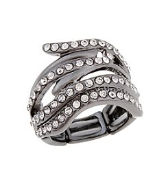 Erica Lyons® Hematite Tone Glamorous Waves Fashion Stretch Ring