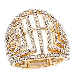Erica Lyons® Goldtone Glamorous Dome Fashion Stretch Ring