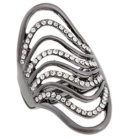 Erica Lyons® Hematite Tone Glamorous Long Waves Fashion Stretch Ring