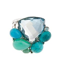 Erica Lyons® Silvertone Mint To Be Stone Cluster Stretch Fashion Ring