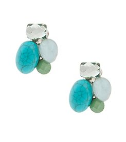 Erica Lyons® Silvertone Mint To Be Clip Cluster Earrings
