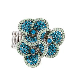 Erica Lyons® Silvertone Glamorous 3 Flower Fashion Stretch Ring