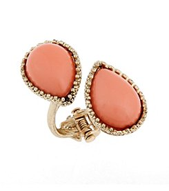 Erica Lyons® Goldtone Coral Me Bad Double Teardrop Hinge Fashion Ring