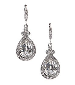 Givenchy® Silvertone Crystal Pave Drop Earrings