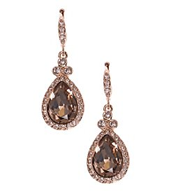 Givenchy® Rose Goldtone Pave Drop Earrings