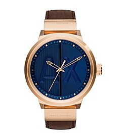 A|X Armani Exchange Men's Rose Goldtone Blue Dial Watch with Leather Strap