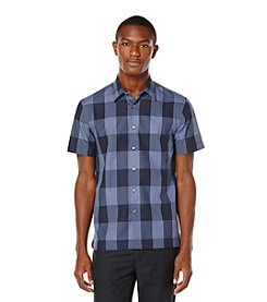 Perry Ellis® Men's Short Sleeve Large Plaid Pattern Button Down Shirt