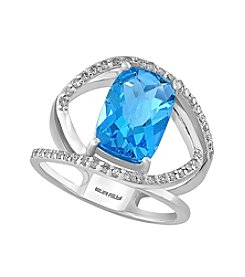 Effy® 14K White Gold Blue Topaz Ring with Diamond Accents