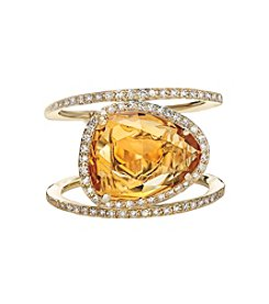 Effy® .29 Diamond and Citrine Ring in 14K Yellow Gold