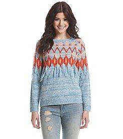Kensie® Geo Print Fringe Sweater