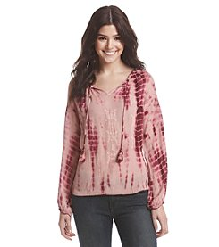 Hippie Laundry Tie Dye Crinkle Peasant Top