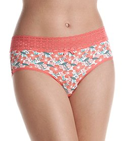Relativity® Cotton/spandex Lace Waist Hipster