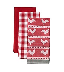 LivingQuarters Rooster 3-pk. Kitchen Towels