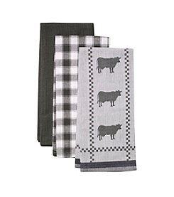 LivingQuarters Cow 3-pk. Kitchen Towels