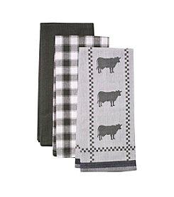 LivingQuarters Cow 3-pk. Kitchen Towels