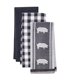LivingQuarters Pig 3-pk. Kitchen Towels