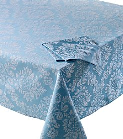 LivingQuarters Blue Jacquard Table Linens