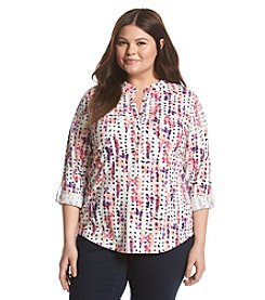 Relativity® Plus Size Printed 3/4 Sleeve Henley