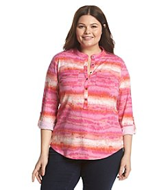 Relativity® Plus Size Stripe 3/4 Sleeve Henley