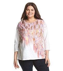Relativity® Plus Size Blurry Foil 3/4 Sleeve Top