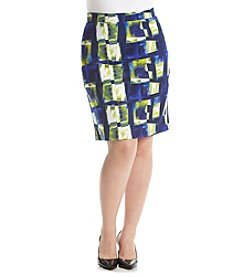 Relativity® Plus Size Printed Scuba Skirt