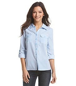 Notations® Petites' Stripe Roll Sleeve Shirt