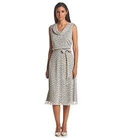 Prelude® Cowl Neck Dot Patterned Dress