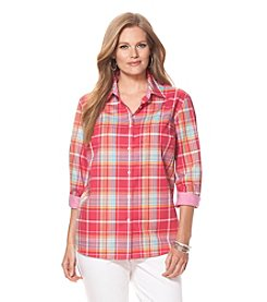 Chaps® Plus Size Plaid Poplin Shirt