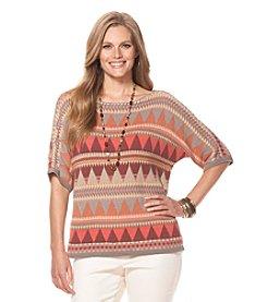 Chaps® Plus Size Southwestern Bateau-Neck Sweater