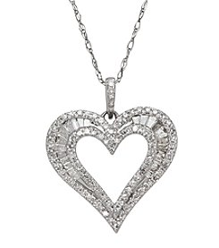 10K White Gold Heart Pendant with 0.50 ct t.w. Diamond Accents