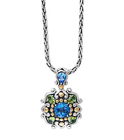 Effy® 925 Sterling Silver and 18K Yellow Gold Blue Topaz with Peridot Pendant