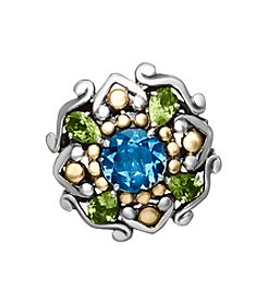 Effy® 925 Sterling Silver and 18K Yellow Gold Blue Topaz with Peridot Ring