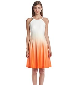 Calvin Klein Ombre Scuba Fit And Flare Dress