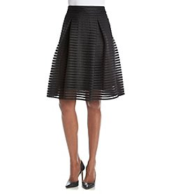 Ivanka Trump® Pleated Mesh Stripe Skirt