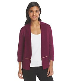 Ivanka Trump® Collarless Rib Trim Cardigan