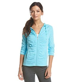 Exertek® Petites' Burnout Shirred Hoodie