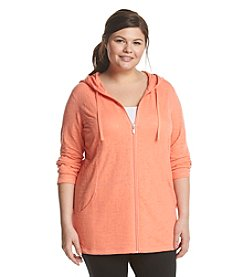 Exertek® Plus Size Burnout Shirred Hoodie
