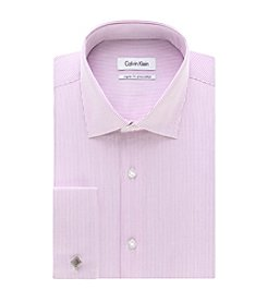 Calvin Klein STEEL Men's Regular Fit Fine Stripe Spread Collar Dress Shirt
