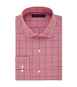 Tommy Hilfiger® Men's Regular Fit Plaid Spread Collar Dress Shirt