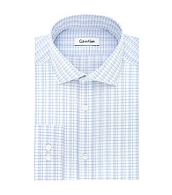 Calvin Klein Steel Men's Slim Fit Grid Pattern Dress Shirt
