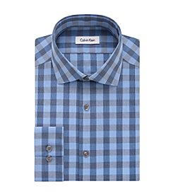 Calvin Klein Steel Men's Slim Fit Check Pattern Dress Shirt