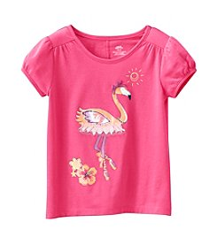 Mix & Match Girls' 2T-6X Flamingo Print Puff Sleeve Tee