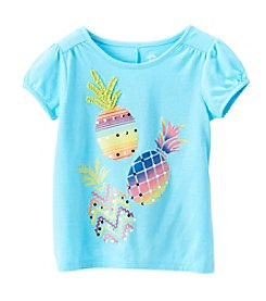 Mix & Match Girls' 2T-6X Pineapple Print Puff Sleeve Tee